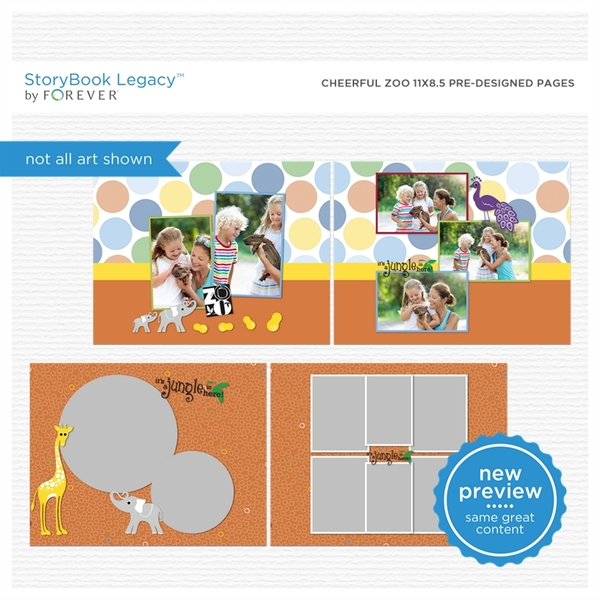 Cheerful Zoo 11x8.5 Predesigned Pages Digital Art - Digital Scrapbooking Kits