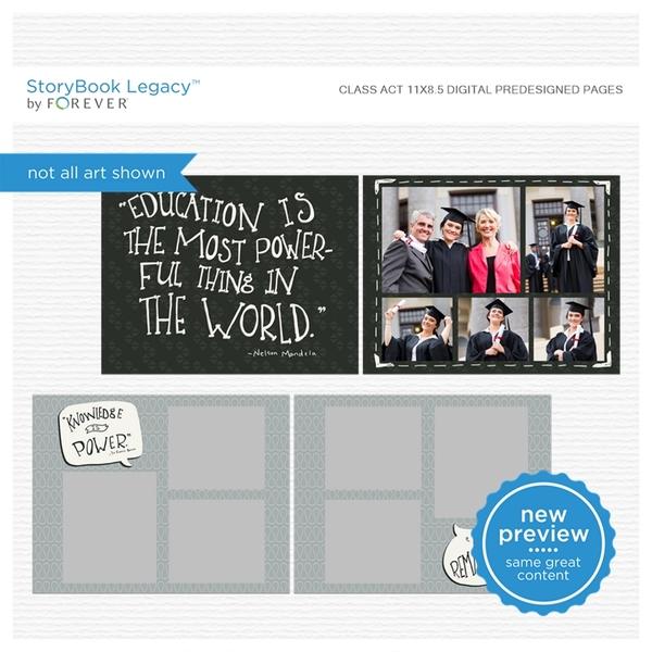 Class Act 11x8.5 Digital Predesigned Pages Digital Art - Digital Scrapbooking Kits