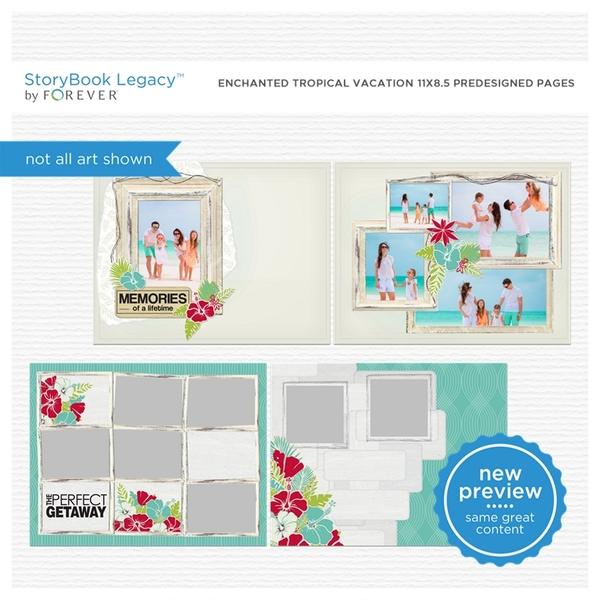 Enchanted Tropical Vacation 11x8.5 Predesigned Pages Digital Art - Digital Scrapbooking Kits