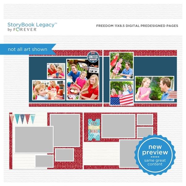 Freedom 11x8.5 Digital Predesigned Pages Digital Art - Digital Scrapbooking Kits