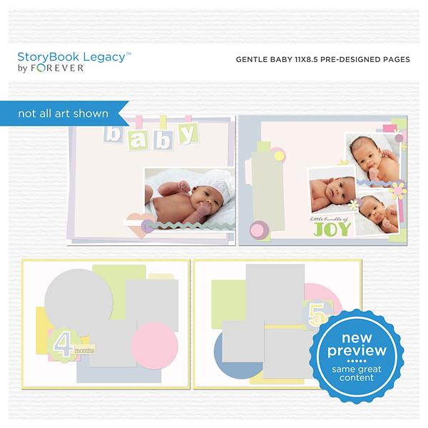 Gentle Baby 11x8.5 Predesigned Pages Digital Art - Digital Scrapbooking Kits