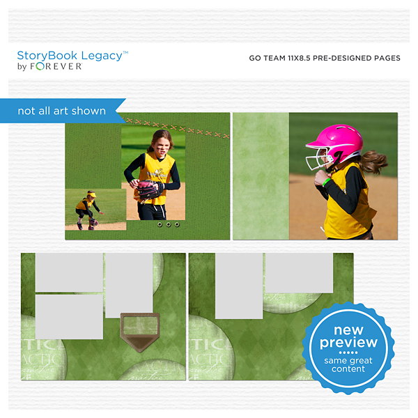 Go Team 11x8.5 Predesigned Pages Digital Art - Digital Scrapbooking Kits