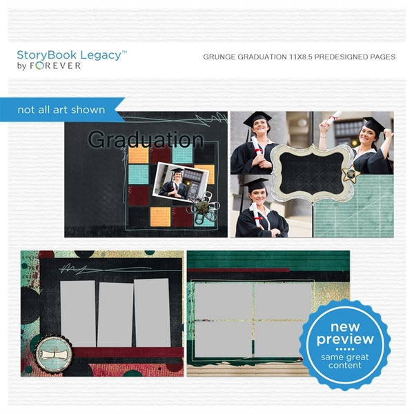 Grunge Graduation 11x8.5 Predesigned Pages Digital Art - Digital Scrapbooking Kits