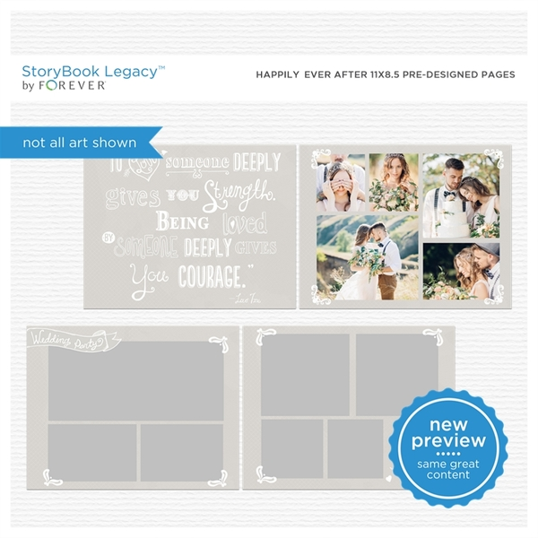 Happily Ever After 11x8.5 Digital Predesigned Pages Digital Art - Digital Scrapbooking Kits