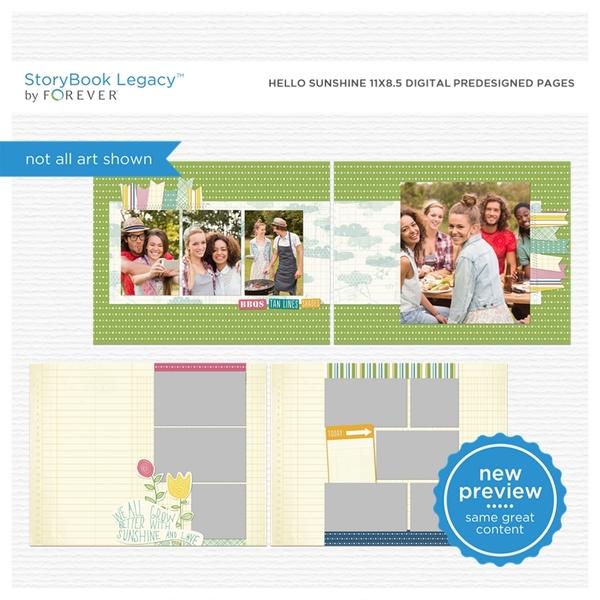 Hello Sunshine 11x8.5 Digital Predesigned Pages Digital Art - Digital Scrapbooking Kits