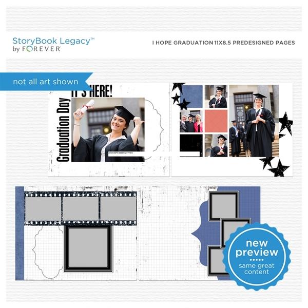 I Hope Graduation 11x8.5 Predesigned Pages Digital Art - Digital Scrapbooking Kits