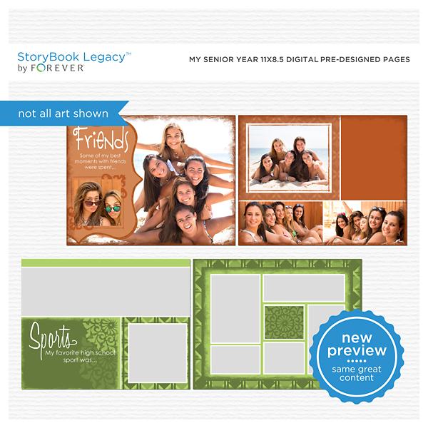 My Senior Year 11x8.5 Digital Predesigned Pages Digital Art - Digital Scrapbooking Kits