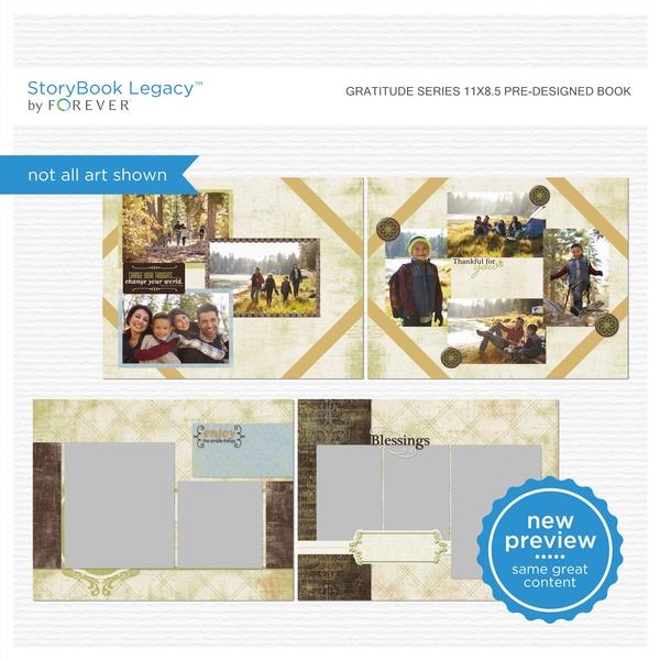 Gratitude Series 11x8.5 Pre-Designed Book Digital Art - Digital Scrapbooking Kits