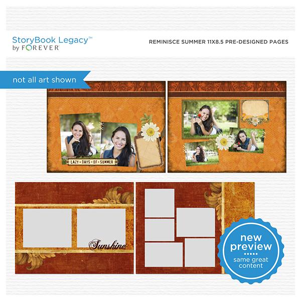 Reminisce Summer 11x8.5 Predesigned Pages Digital Art - Digital Scrapbooking Kits