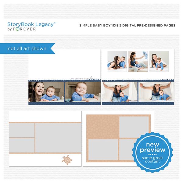 Simple Baby Boy 11x8.5 Digital Predesigned Pages Digital Art - Digital Scrapbooking Kits