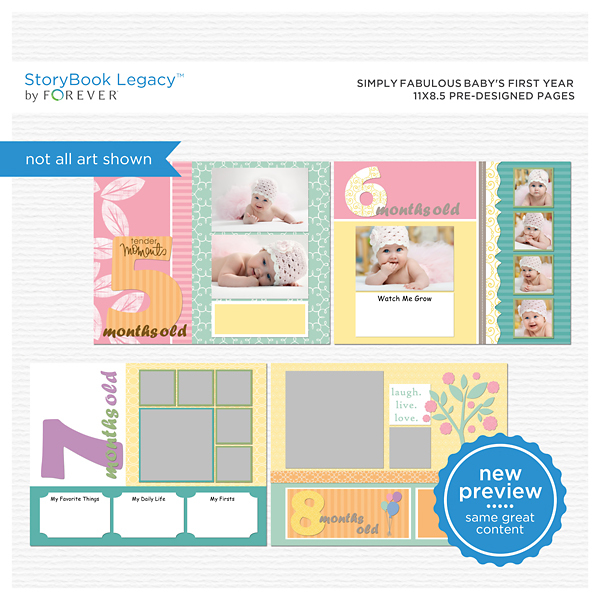 Simply Fabulous Baby's First Year 11x8.5 Predesigned Pages Digital Art - Digital Scrapbooking Kits
