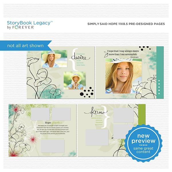Simply Said Hope 11x8.5 Predesigned Pages Digital Art - Digital Scrapbooking Kits