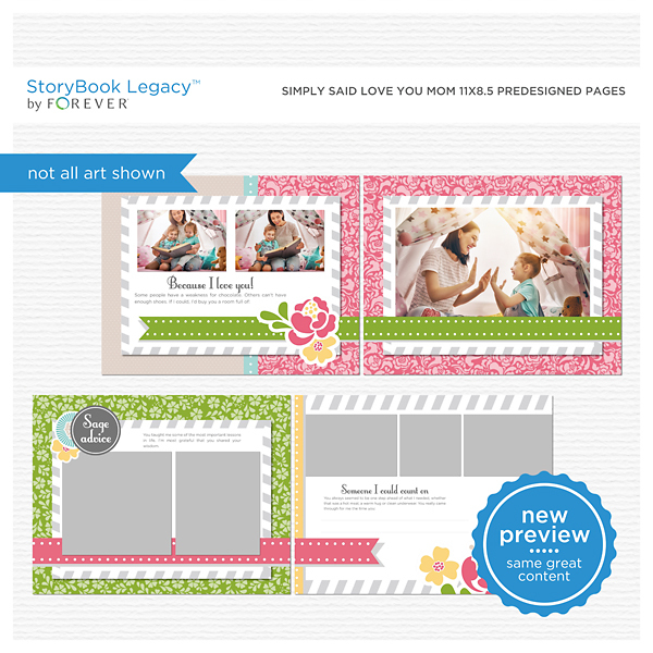 Simply Said Love You Mom 11x8.5 Digital Predesigned Pages Digital Art - Digital Scrapbooking Kits