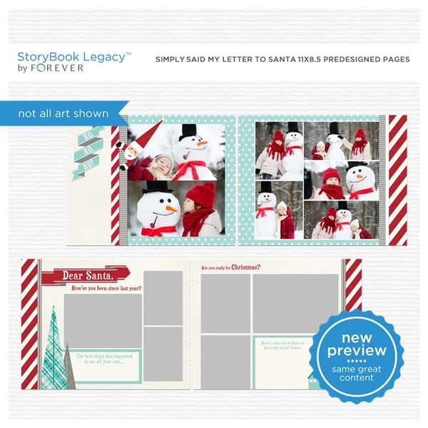 Simply Said My Letter To Santa 11x8.5 Predesigned Pages Digital Art - Digital Scrapbooking Kits