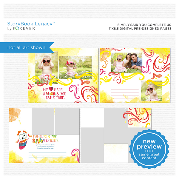 Simply Said You Complete Us 11x8.5 Digital Predesigned Pages Digital Art - Digital Scrapbooking Kits
