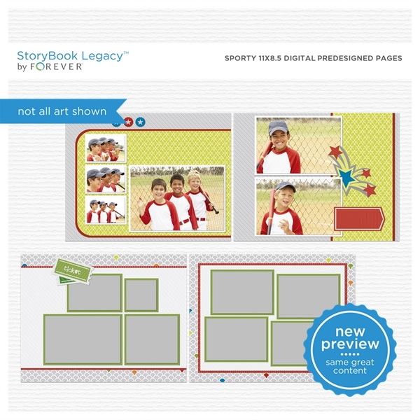 Sporty 11x8.5 Digital Predesigned Pages Digital Art - Digital Scrapbooking Kits