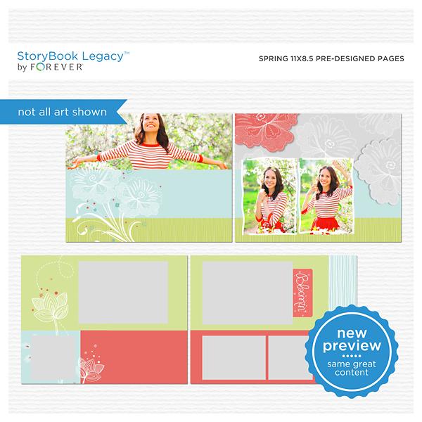 Spring 11x8.5 Predesigned Pages Digital Art - Digital Scrapbooking Kits