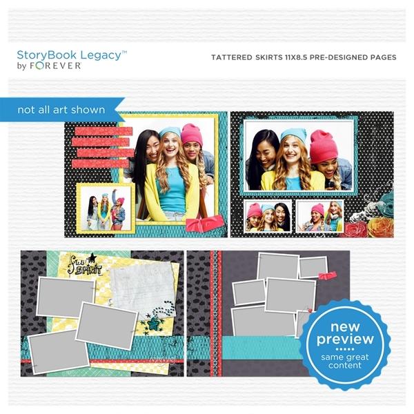Tattered Skirts 11x8.5 Predesigned Pages Digital Art - Digital Scrapbooking Kits