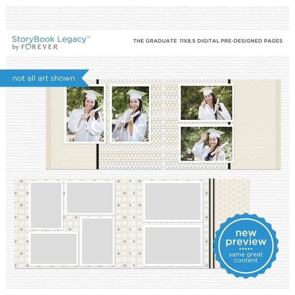 The Graduate 11x8.5 Digital Predesigned Pages Digital Art - Digital Scrapbooking Kits