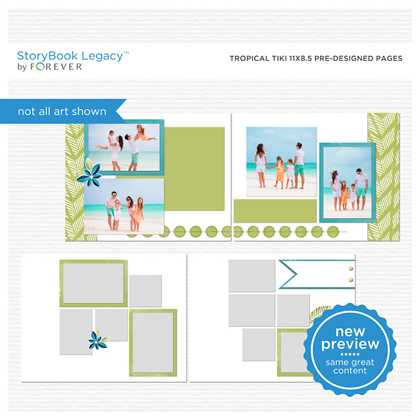 Tropical Tiki 11x8.5 Predesigned Pages Digital Art - Digital Scrapbooking Kits