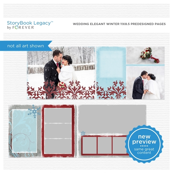 Wedding Elegant Winter 11x8.5 Predesigned Pages Digital Art - Digital Scrapbooking Kits