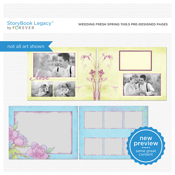 Wedding Fresh Spring 11x8.5 Predesigned Pages Digital Art - Digital Scrapbooking Kits
