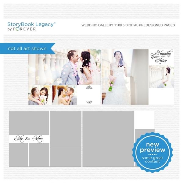 Wedding Gallery 11x8.5 Digital Predesigned Pages Digital Art - Digital Scrapbooking Kits