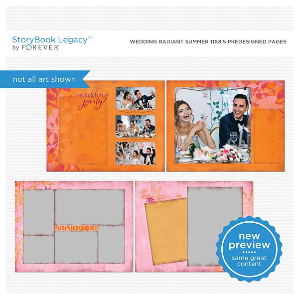 Wedding Radiant Summer 11x8.5 Predesigned Pages Digital Art - Digital Scrapbooking Kits