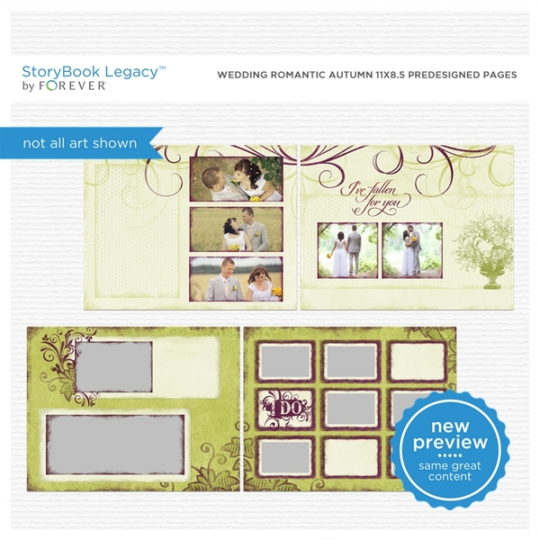 Wedding Romantic Autumn 11x8.5 Predesigned Pages Digital Art - Digital Scrapbooking Kits