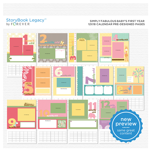 Simply Fabulous Baby's First Year 12x18 Calendar Predesigned Pages Digital Art - Digital Scrapbooking Kits