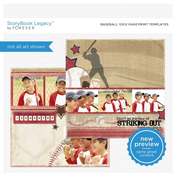 Baseball 12x12 Page Print Templates Digital Art - Digital Scrapbooking Kits