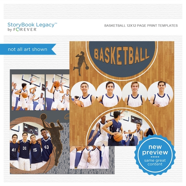 Basketball 12x12 Page Print Templates Digital Art - Digital Scrapbooking Kits