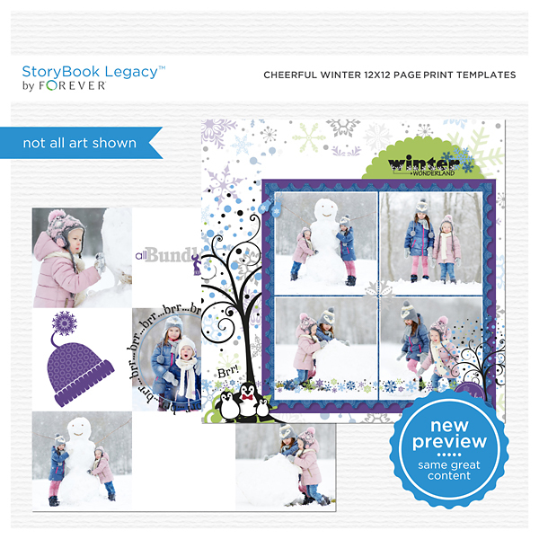 Cheerful Winter 12x12 Page Print Templates Digital Art - Digital Scrapbooking Kits