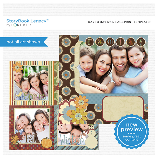 Day To Day 12x12 Page Print Templates Digital Art - Digital Scrapbooking Kits