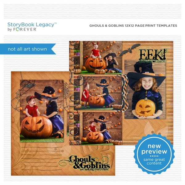Ghouls & Goblins 12x12 Page Print Template Digital Art - Digital Scrapbooking Kits