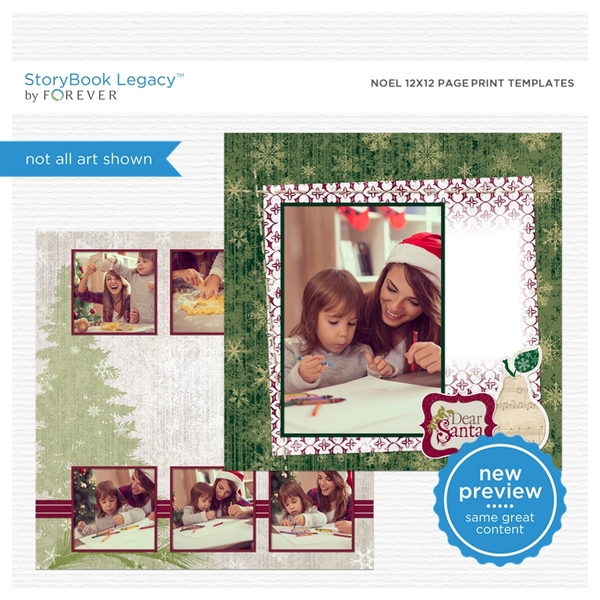 Noel 12x12 Page Print Templates Digital Art - Digital Scrapbooking Kits