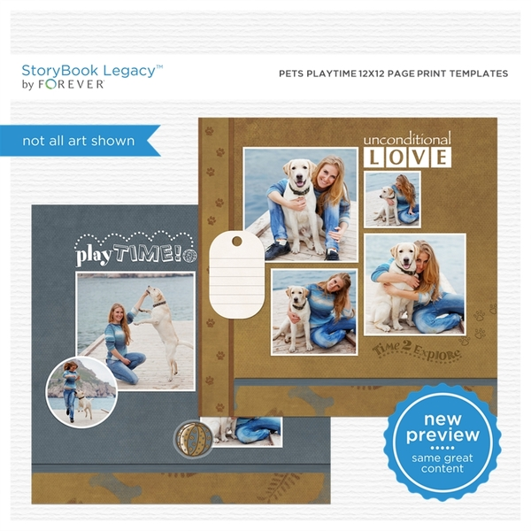 Pets Playtime 12x12 Page Print Templates Digital Art - Digital Scrapbooking Kits