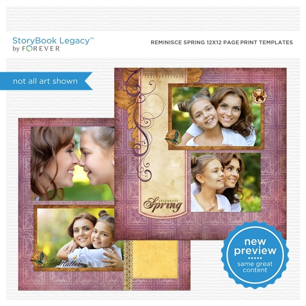 Reminisce Spring 12x12 Page Print Templates Digital Art - Digital Scrapbooking Kits