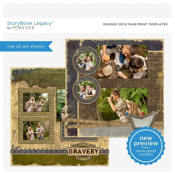 Rugged 12x12 Page Print Templates Digital Art - Digital Scrapbooking Kits