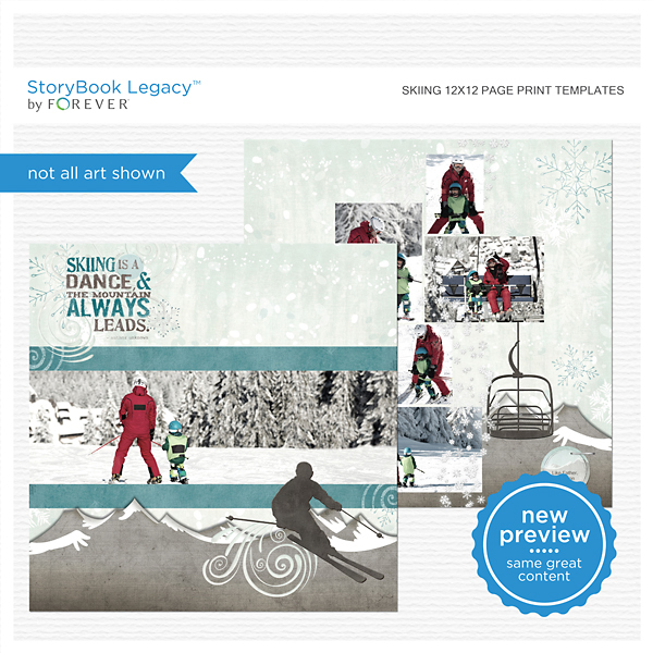 Skiing 12x12 Page Print Templates Digital Art - Digital Scrapbooking Kits