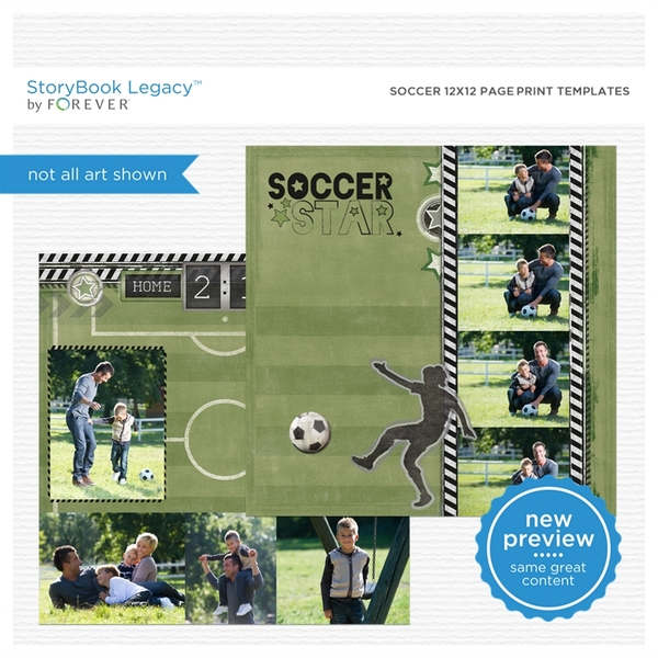 Soccer 12x12 Page Print Templates Digital Art - Digital Scrapbooking Kits
