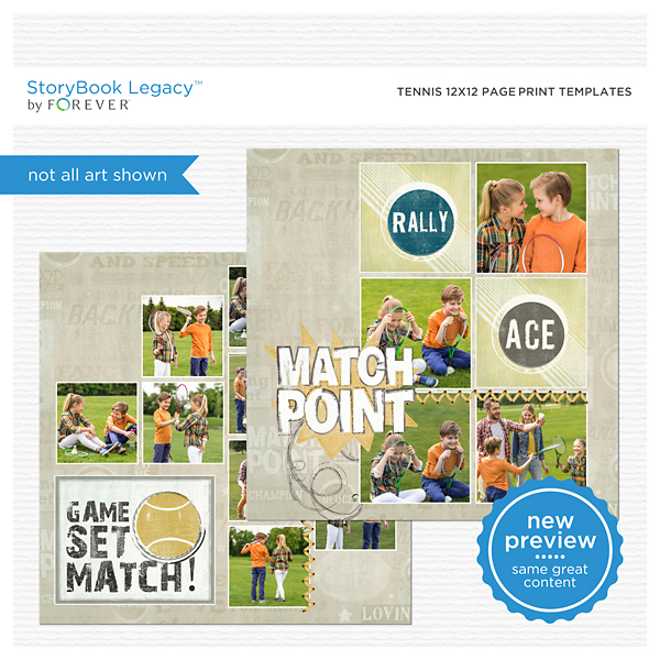 Tennis 12x12 Page Print Templates Digital Art - Digital Scrapbooking Kits