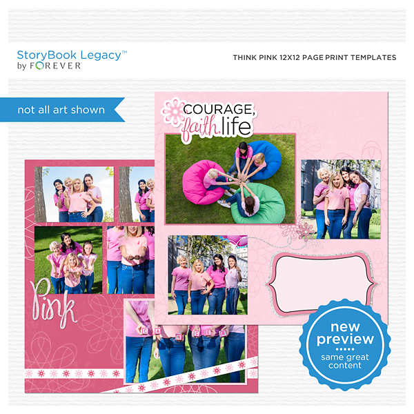 Think Pink 12x12 Page Print Templates Digital Art - Digital Scrapbooking Kits