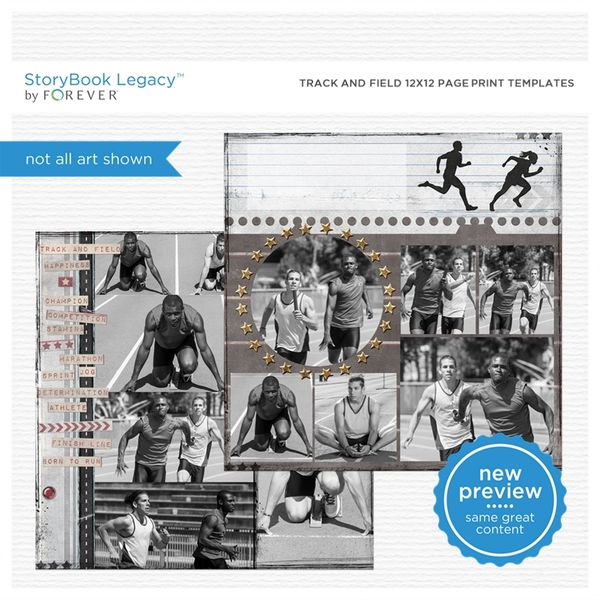 Track And Field 12x12 Page Print Templates Digital Art - Digital Scrapbooking Kits