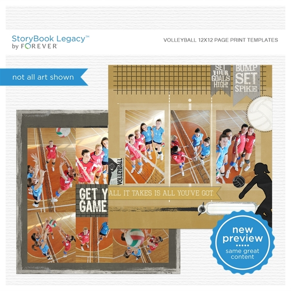 Volleyball 12x12 Page Print Templates Digital Art - Digital Scrapbooking Kits