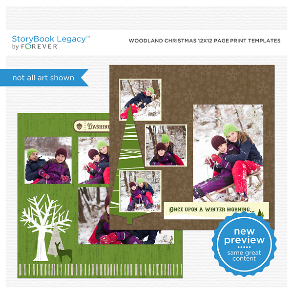 Woodland Christmas 12x12 Page Print Templates Digital Art - Digital Scrapbooking Kits