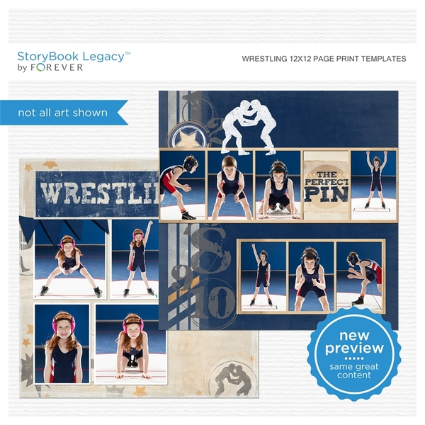 Wrestling 12x12 Page Print Templates Digital Art - Digital Scrapbooking Kits