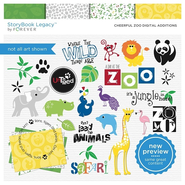 Cheerful Zoo Digital Additions Digital Art - Digital Scrapbooking Kits