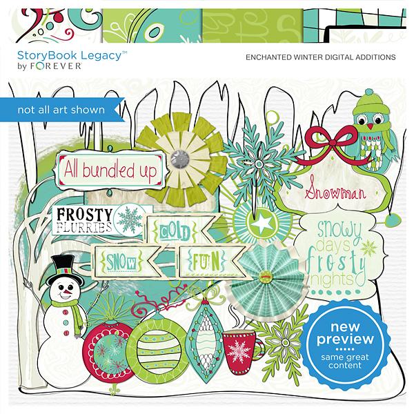 Enchanted Winter Digital Additions Digital Art - Digital Scrapbooking Kits