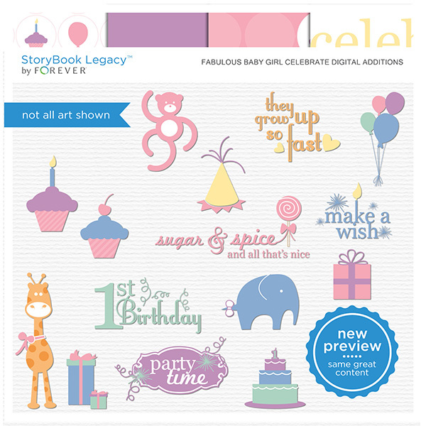 Fabulous Baby Girl Celebrate Digital Additions Digital Art - Digital Scrapbooking Kits